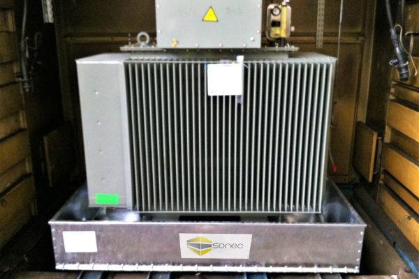 Exemple de bac de rétention pour transformateur BR2S SONEC avec joint silicone haute température