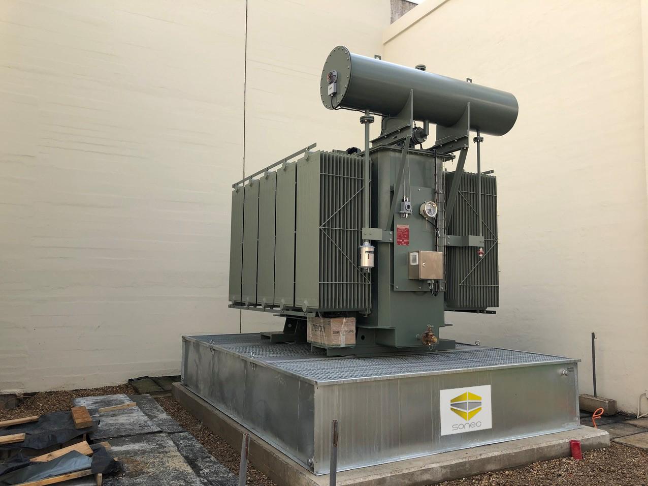 BCF Sonec bac de rétentionéquipé de volets coupe feu pour transformateur électrique