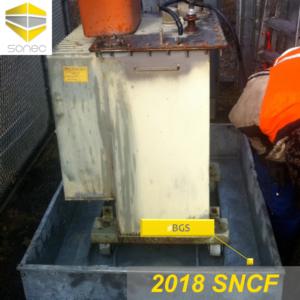 05-BGS bac galvanisé sur mesure installé directement sous le TSA transformateur auxiliaire SNCF