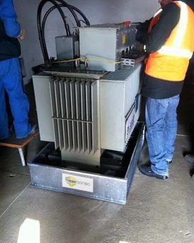 Exemple de bac de rétention pour transformateur SONEC dans poste ENEDIS conforme à la NFC13200