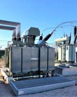 Transformateur de puissance sur bac de rétention galva BR2S SONEC avec caillebotis antidérapant et système de filtration SPI SNCF olivettes
